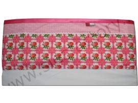 Lakentje ledikant in licht roze, roze met rozen/roosjes