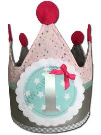Verjaardagskroon zilver, zacht roze, roze, grijs en mintgroen