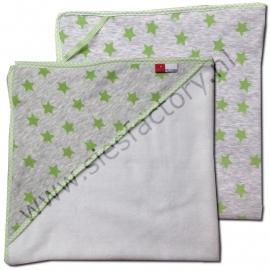 Wikkeldoek grijs met groene sterren en zachte teddy stof