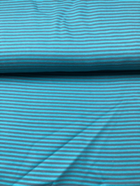 boordstof  aqua blauw met grijs streepje