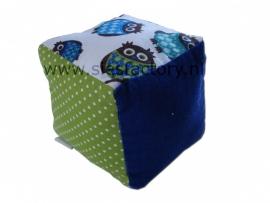 Speelkubus blauw, groen met uiltjes