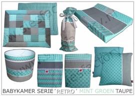 Babykamer aankleding 'Retro' in mint groen, taupe wafeldoek en linnen
