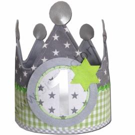 Verjaardagskroon grijs met groen ruitje en sterren