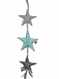 Deur - /kastenhanger met sterren in mint groen  en grijs