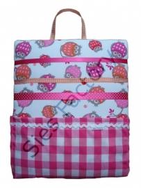 Memobordje / haarknipjesbord roze oranje rood met uiltjes en roze ruit zakje