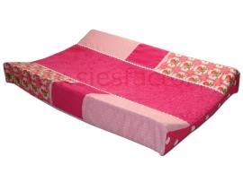 Aankleedkussenhoes licht roze, roze met rozen/roosjes