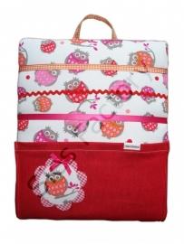 Memobordje / haarknipjesbord roze oranje rood met uiltjes en rood zakje