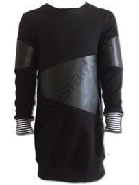 Stoere sportieve jurk zwart sweat met skai (kunstleder)