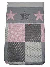 Overtrek ledikant licht roze, grijs en wit