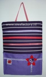memo / haardspeldbord met zakje in paars met rood