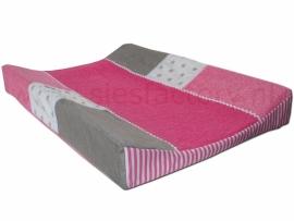 Aankleedkussenhoes (zacht) roze, linnen (zand/grijs) en wit met kant