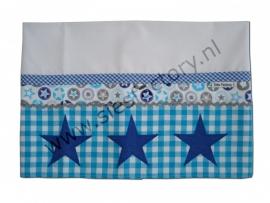lakentje wieg aqua, kobalt blauw (jeans), grijs met sterren