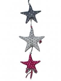 Deurhanger / Kasthanger roze, grijs en wit met 3 sterren
