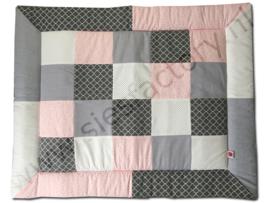 Boxkleed 80x100 cm zacht roze, grijs en wit