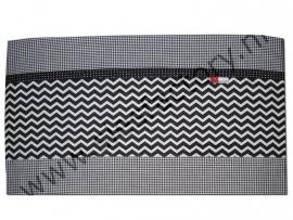 Lakentje zwart, wit ruitje met chevron/zigzag