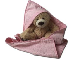 Wikkeldoek in licht  /  zacht roze wafeldoek en fijne sterretjes