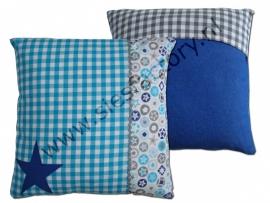Kussen aqua, kobalt blauw (jeans) en grijs met ster