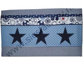 Lakentje voor ledikant donker blauw, jeans blauw en wit met sterren