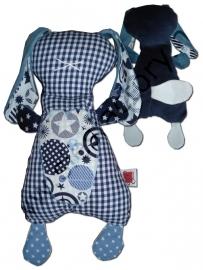 Knuffelkonijn donker blauw, jeans blauw met sterren