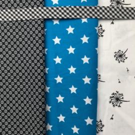 Feestslinger en bijpassende verjaardagskroon zwart, wit en aqua blauw