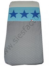 Overtrek ledikant aqua, grijs en kobalt blauw jeans sterren
