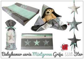 Babykamer accessoires mintgroen mix, wafeldoek met grijs, wit en ster