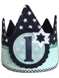 Verjaardagskroon donkerblauw sterren met mintgroen wafeldoek