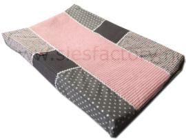 Aankleedkussenhoes zacht (oud) roze, grijs en wafeldoek