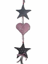 Deurhanger / Kasthanger licht roze , grijs en wit met harten en sterren