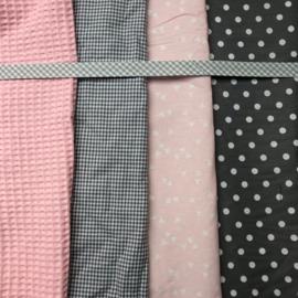 Feestslinger en speenkoord zacht roze met grijs