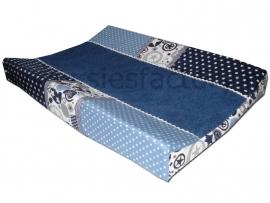 Aankleedkussenhoes donker blauw, jeans blauw en wit met sterren