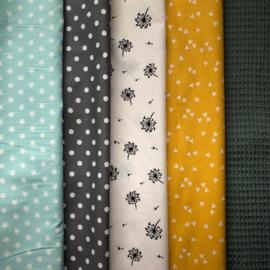 Boxkleed zwart, wit , oud groen, geel en mintgroen