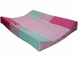 Aankleedkussenhoes roze, mintgroen met bloemetjes