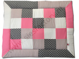 Boxkleed zacht / oud roze grijs en wit stippen en grafische bloemetjes