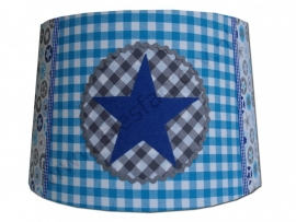 Lampenkap (hangmodel) aqua, kobalt blauw (jeans) en grijs met ster