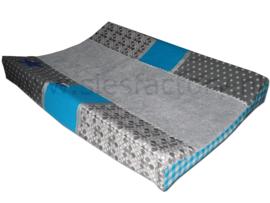 Aankleedkussenhoes aqua blauw met grijs en kobalt jeans sterus