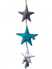 Deurhagner/Kasthanger grijs, wit en turquoise met 3 sterren