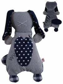 Knuffelkonijn grijs met donker blauw