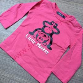 Roze shirtje met zwarte aap en zilveren tekst maat 62