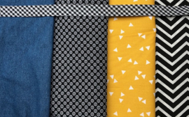 verjaardagskroon en feestslinger geel, jeans en zwart / wit