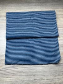 boordstof licht blauw / donker blauw streepje