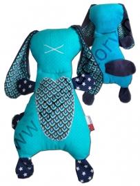 Groot zacht knuffelkonijn turquoise, donker blauw