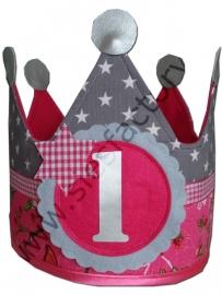 Verjaardagskroon roze bloemen/vogeltjes met grijs sterren