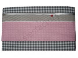 lakentje ledikant /wieg in licht roze, zand en grijs