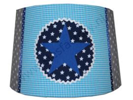 Lampenkap in aqua, kobalt blauw, donkerblauw en grijs met ster