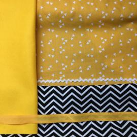 Verjaardagskroon geel met zwart/wit zigzag