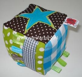 Kubus deco grijs / bruin / groen blauw met ster