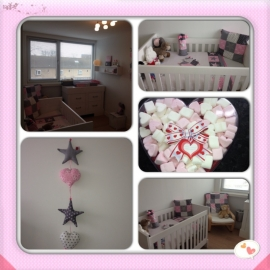 babykamer licht roze, grijs en wit met zilver accent