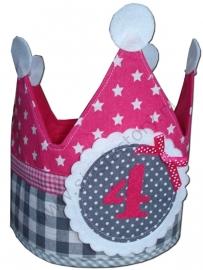 Verjaardagskroon roze met grijs en wit