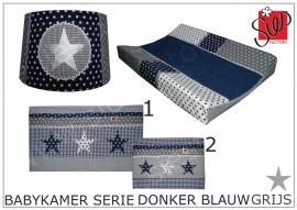 Babykamer aankleding donker blauw, grijs met wit en zilveren sterren